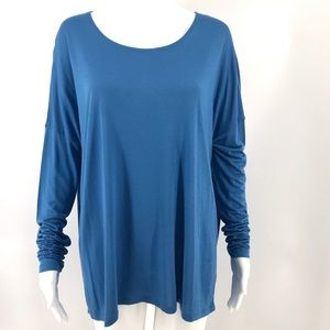 VINCE Blue Top M Oversized Long Sleeved Tunic Soft